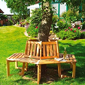 solid wood garden tree bench treated timber garden