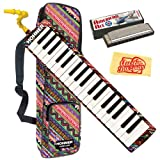 Hohner Airboard 37 37-Key Melodica Bundle with Gig Bag, BlowFlow Mouthpiece, Harmonica, and Polishing Cloth