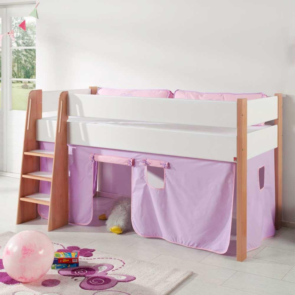 Mädchen Kinderbett mit Vorhang in Rosa halbhoch Pharao24