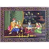 "Dolls Of India ""King Enjoying The Moonlit Night"" Reprint On Paper - Unframed (34.29 X 24.77 Centimeters)"