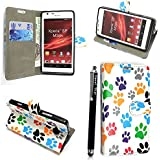 SONY XPERIA SP M35H VARIOUS PU LEATHER MAGNETIC FLIP CASE SKIN COVER POUCH + FREE STYLUS (Multi Dog Cat Foot Book)