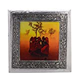 MJR Digital Print Carved White Metal Decorative Dry Fruits Box- Village Women - 8 x 8 inches.