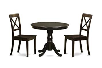 East West Furniture ANBO3-CAP-W 3-Piece Kitchen Table Set with Drop Leaf, Cappuccino Finish