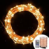 Cymas LED String Lights Dimmable - Starry String Light Copper Wire 33 Feet Waterproof Decorative Rope Lighting Indoor or Outdoor for Christmas - Weddings - Party