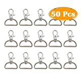 YYCC 1 Inch Inside Diameter D Ring Metal Swivel Clasps Lobster Claw Clasps Key Chain Swivel Snap Hooks Jewelry Findings,for Lanyard and Sewing Projects,Handbag Purse Hardware Craft (Pack of 50)