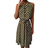 Women Polka Dot Sleeveless Dresses,Meigeanfang Halter Bandge Off Shoulder Casual Loose Dress(Green,M) (Color: Green, Tamaño: Medium)