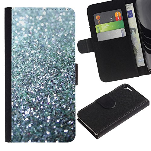 ProTech - Apple Iphone 5 / 5S - Glitter Silver Sparkling Bling Platinum - Slim PU Leather Wallet Credit Card Case Cover Shell Armor (Iphone 5s Platinum Housing compare prices)