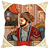 Sleep nature's Micro Fabric Mughals Printed Cushion Cover, 16 Inches x 16 Inches