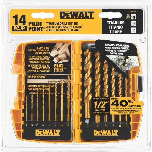 DEWALT DW1354 14-Piece Titanium Drill Bit Set (Drill Bit For Metal compare prices)