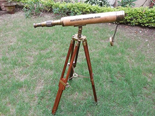 18-inch-vintage-nautical-harbormaster-telescope-with-tripod-wooden-stand-c-3173
