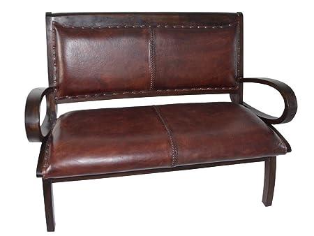 coloniale divano sedute lounge in cuoio naturale in legno di teak Brown soggiorno