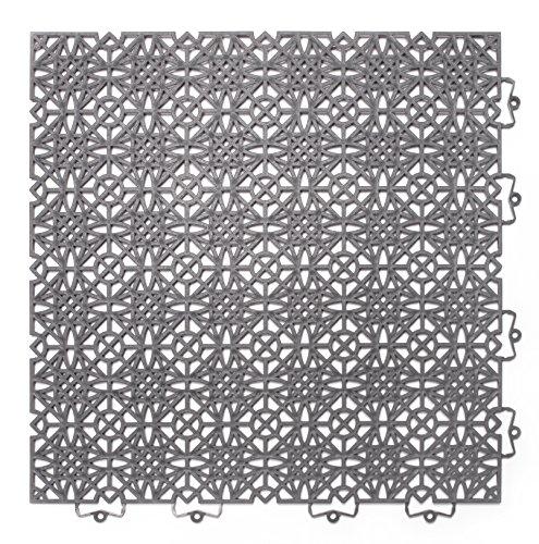 202403 Kunststofffliese / Bodenfliese 38 x 38 cm, Set: Bestehend aus 7 Fliesen 1 m²