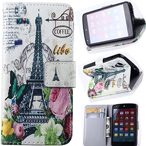 Nexus 5 Case, [Stand Feature] Apple Nexus 5 Case Wallet [Wallet S] Slim Wallet Card Slots Case With Stand Flip Cover For Lg Google Nexus 5 Smart Phone(2014 Latest Styles) - [Eiffel Tower Red Flowers Building][Package Includes: 1 X Screen Protector And Sty