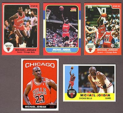 Michael Jordan (5) Card Basketball Reprint Lot Including the 1985 Star Rookie Reprint and 1986 Fleer Rookie Reprint Chicago)