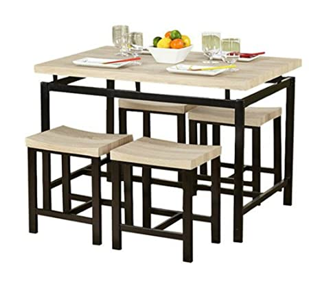 Dining Table and Chair Set in Amazing Classic Natural Finish - This Stylish 5 Piece Kitchen or Dining Room Furniture Is Sturdy and Durable - Great Accent Decor for Your Home - Satisfaction Guaranteed!