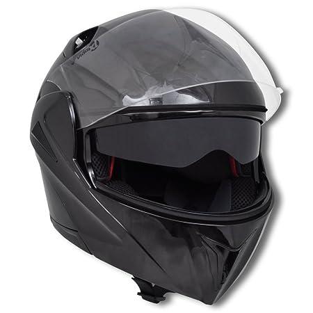 Casque de moto Noir L Double visière