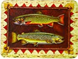 River's Edge Tempered Glass Cutting Board with Beautiful Rustic Trout Design (Trout, 16-Inchx12-Inchx.5-Inch)