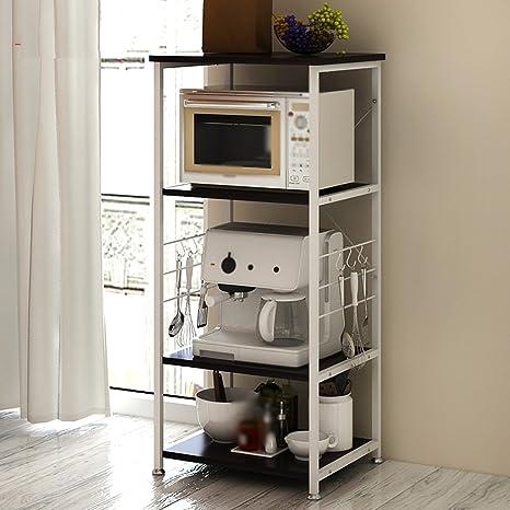Estantería de cocina creativa Horno de microondas Estantería Cocina multifunción Estante de almacenamiento Estante de almacenamiento Aterrizaje Marco de microondas ( Color : Negro )