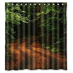 Forest road green tree custom shower curtain - Forest green shower curtain ...