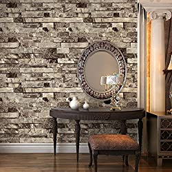"HaokHome 91301 Modern Faux Brick Stone Textured Wallpaper Roll Grey Multi Brick Blocks Home Room Decoration 20.8"" x 393.7"""