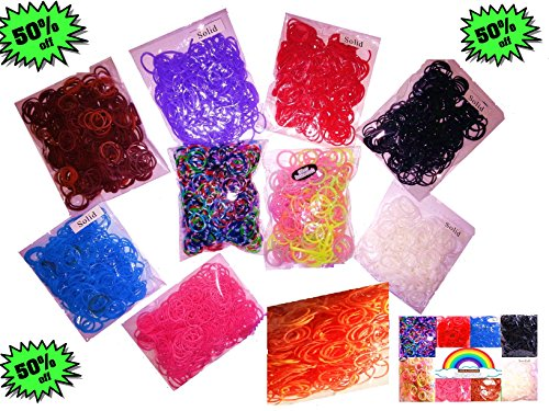 50% OFF! 4000 Pcs Amazing Value Rubber Band Refill Mega Value Pack with Clips (Rainbow Colors -400 Each of 8 Assorted Color) - 100% Compatible with All Looms - 1