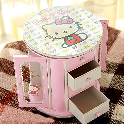 VIVISKY Kitty Cat Cosmetic Storage Jewelry Musical Box Display Organizer Storage Case with Mirror (Pink)