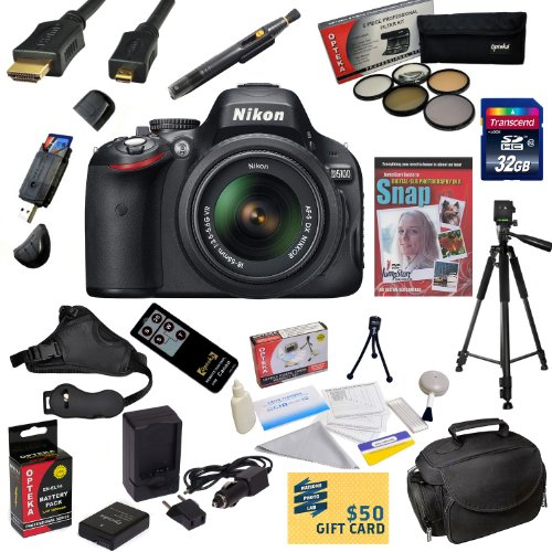 #!  Nikon D5100 Digital SLR Camera with 18-55mm NIKKOR VR Lens With Must Have Accessory Kit: 32GB High-Speed SDHC Card + Card Reader + Extra Battery + Travel Charger + 52MM 5 Piece Pro Filter Kit (UV, CPL, FL, ND4 and 10x Macro Lens) + HDMI Cable + Padded Gadget Bag + Remote Control + Professional 60