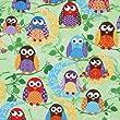 cute green owls fabric What a Hoot USA designer (per 0.5m multiple)