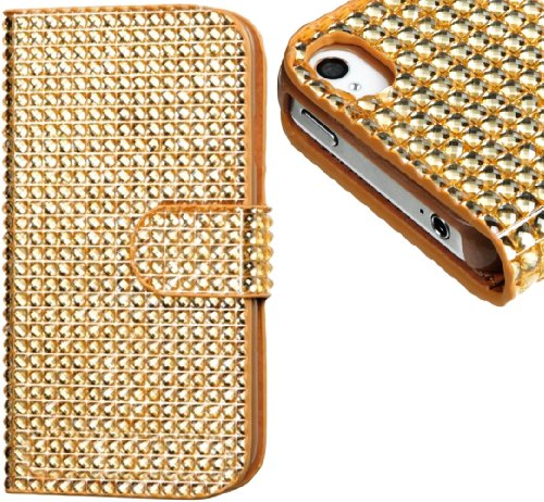 Mylife (Tm) Golden Diamond Bling Design - Textured Koskin Faux Leather (Card And Id Holder + Magnetic Detachable Closing) Slim Wallet For Iphone 4/4S (4G) 4Th Generation Touch Phone (External Rugged Synthetic Leather With Magnetic Clip + Internal Secure S