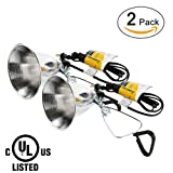 Simple Deluxe 2-Pack Clamp Lamp Light with 5.5 Inch Aluminum Reflector up to 60 Watt E26 (no Bulb Included) 6 Feet 18/2 SPT-2 Cord UL Listed (Color: Silver, Tamaño: 2-Pack)