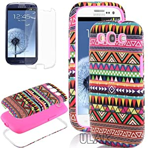 Pandamimi ULAK 3in1 Hybrid High Impact Pink Hard Aztec Tribal Pattern + Pink Silicone Case Cover For Samsung Galaxy S3 SIII i9300 +Screen Protector by ULARK