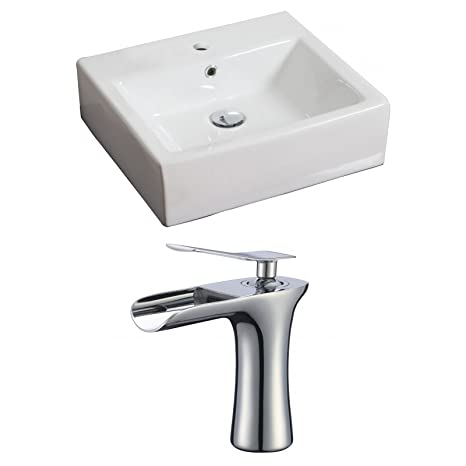 "Jade Bath JB-17855 20"" W x 18"" D Rectangle Vessel Set with Single Hole CUPC Faucet, White"