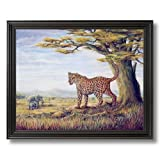 Elephants And Cheetah African Wildlife Wall Picture Black Framed Art Print