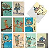 M6630OCB Life'S A Hoot: 10 Assorted Blank All-Occasion Note Cards Featuring Child Inspired Drawings of Owls Paired with Motivational Words, w/White Envelopes.