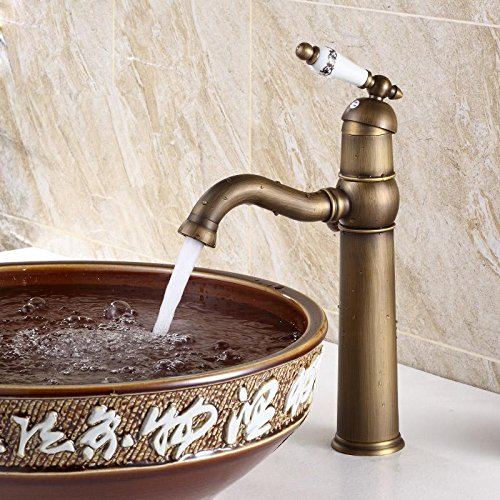 CAC Rubinetto antichi Porcellana antico lavatoio rubinetto sotto il contatore Miscelatore lavandino retrò orientabile mobiletto del bagno caldo e freddo , RUBINETTO D bacino della piattaforma