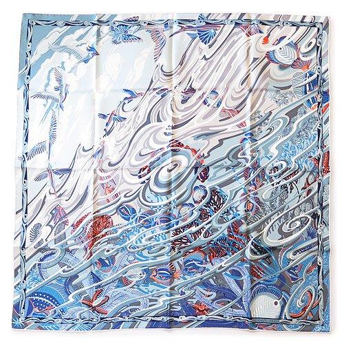 (エルメス)HERMES スカーフ HE91-002795-14 大判 カレツイル 空から海へ シルク ブルージーン CARRE TWILL LA MER AU CIEL BLUE JEAN/002795S 14 [並行輸入品]