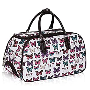 Ladies Travel Holdall Bags Hand Luggage Womens Butterfly Weekend Wheeled Trolley Handbag by TrendStar