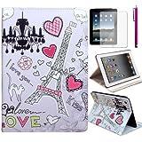 Forepin® Cover Case Hülle für das Apple Ipad 4 Ipad 3 Ipad 2 Karikatur Muster PU Ledertasche mit Standfunktion + Kostenlos Touch-Pen und Displayschutzfolie