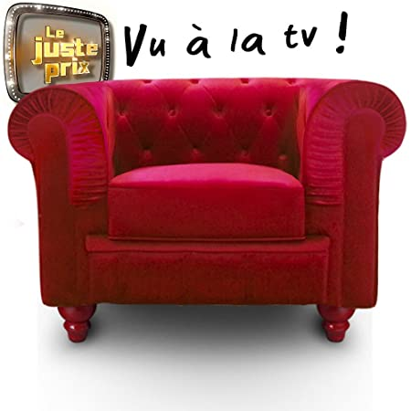 Intense Déco - Fauteuil Chesterfield velours Altesse Rouge