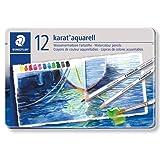 Staedtler Karat Aquarell Premium Watercolor Pencils, Set of 12 Colors (125M12) (Color: Silver, Tamaño: 12 Pieces)