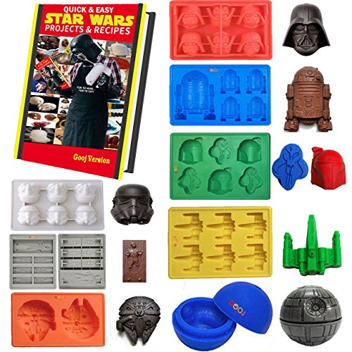 Gooj- Set Of 8 Star Wars Themed Silicone Molds For Desserts, Candles & Ice Cubes-Premium FDA Approved Silicone -Extremely Durable & Heat Resistant- Dishwasher Safe. E-Books Download Instructions