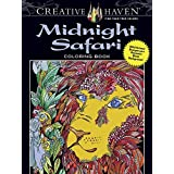Creative Haven Midnight Safari Coloring Book: Wild Animal Designs on a Dramatic Black Background (Adult Coloring)