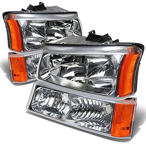 Chevy Silverado/Avalanche 4-PC Headlight Lamps With Amber Reflector (Chrome Housing) - 1 Gen (2002 Avalanche Headlight Assembly compare prices)