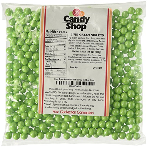 Lime Green Shimmer Sixlets Candy 1LB Bag