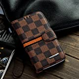 Luxury Brand Designer Brown Checks Leather Cases Covers Wallet for Samsung Galaxy S4 SIV I9500 for Men Checkered Checker Plaid Cheap by Leather Factory Outlet