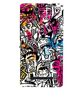 Kingcase Printed Back Case Cover For Sony Xperia C3 Dual SIM - Multicolor