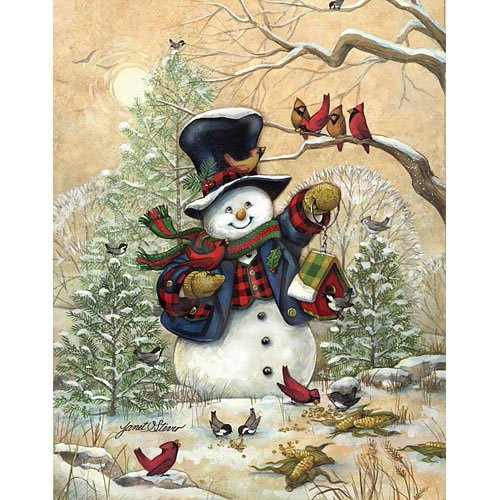 [Bits and Pieces - 1000 Piece Jigsaw Puzzle - Winter Friends, Snowman - by Artist Janet Stever - 1000 pc] (Animal That Starts With J)