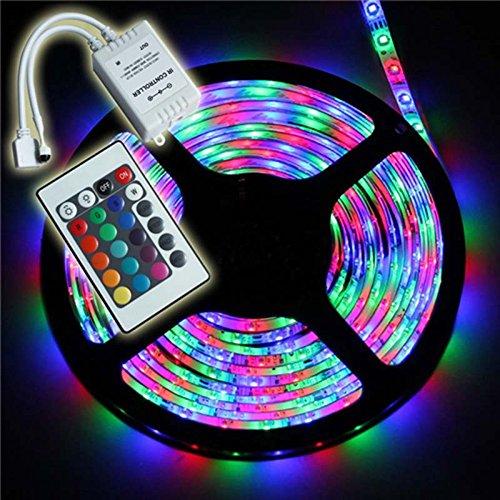 SourceWorld striscia di 300 luci a led impermeabile 5M 3528 RGB SMD colore cangiante - kit completo con telecomando IR a 24 tasti - 3528 - 5M + telecomando