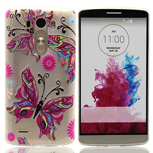 LG G3 Case, ArtMine Beautiful Butterfly Fashion Thin Soft Silicone TPU Ultra Slim Rubber Gel Back Case Cover for LG G3 (Lg G3 Rubber Case compare prices)