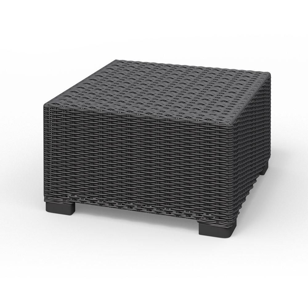 Tisch Hocker Polyrattan Gartenmöbel Lounge Rattanoptik Ablage graphit California Allibert günstig bestellen